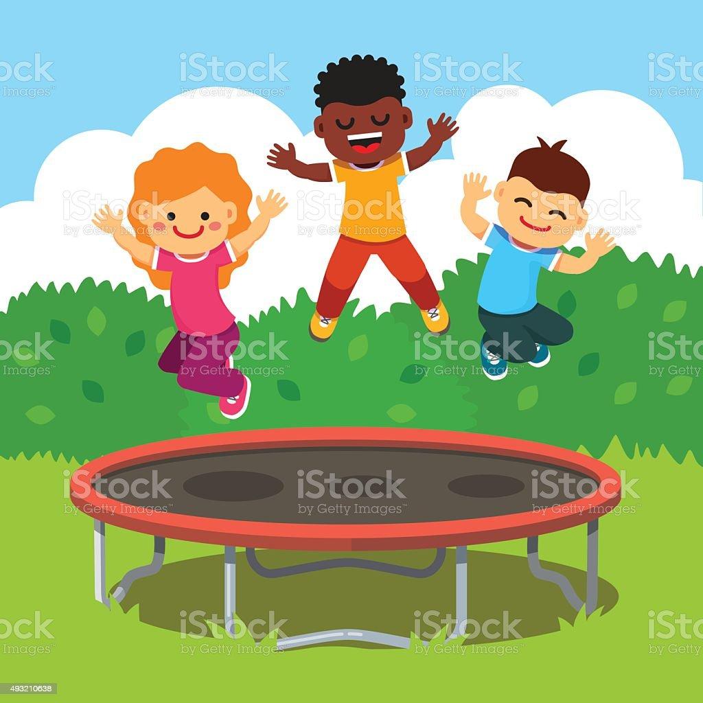 Children having fun at a happy summertime vacation vector art illustration