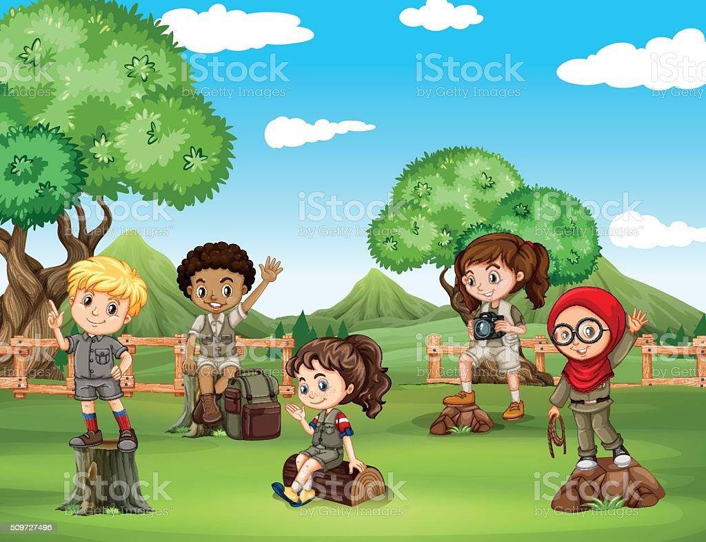 Children having fun in the field vector art illustration