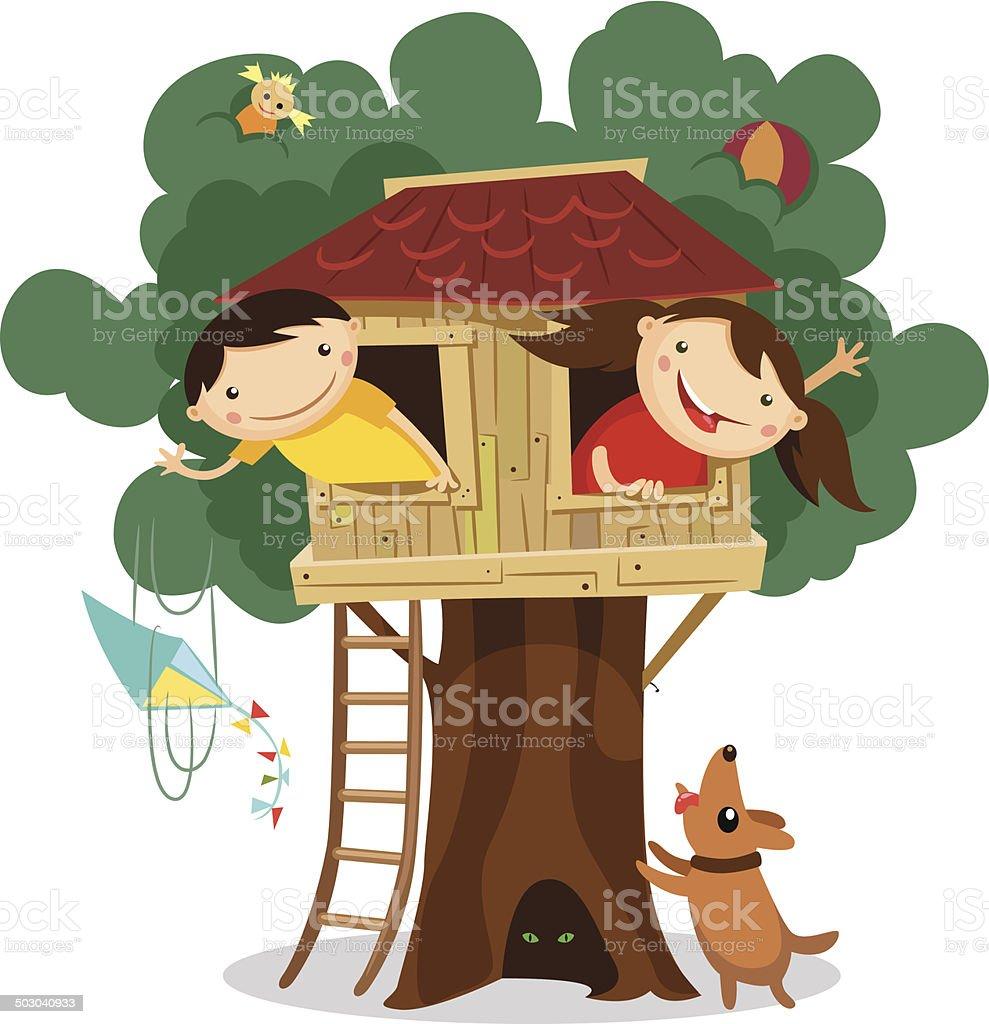 Children having fun in the treehouse. vector art illustration
