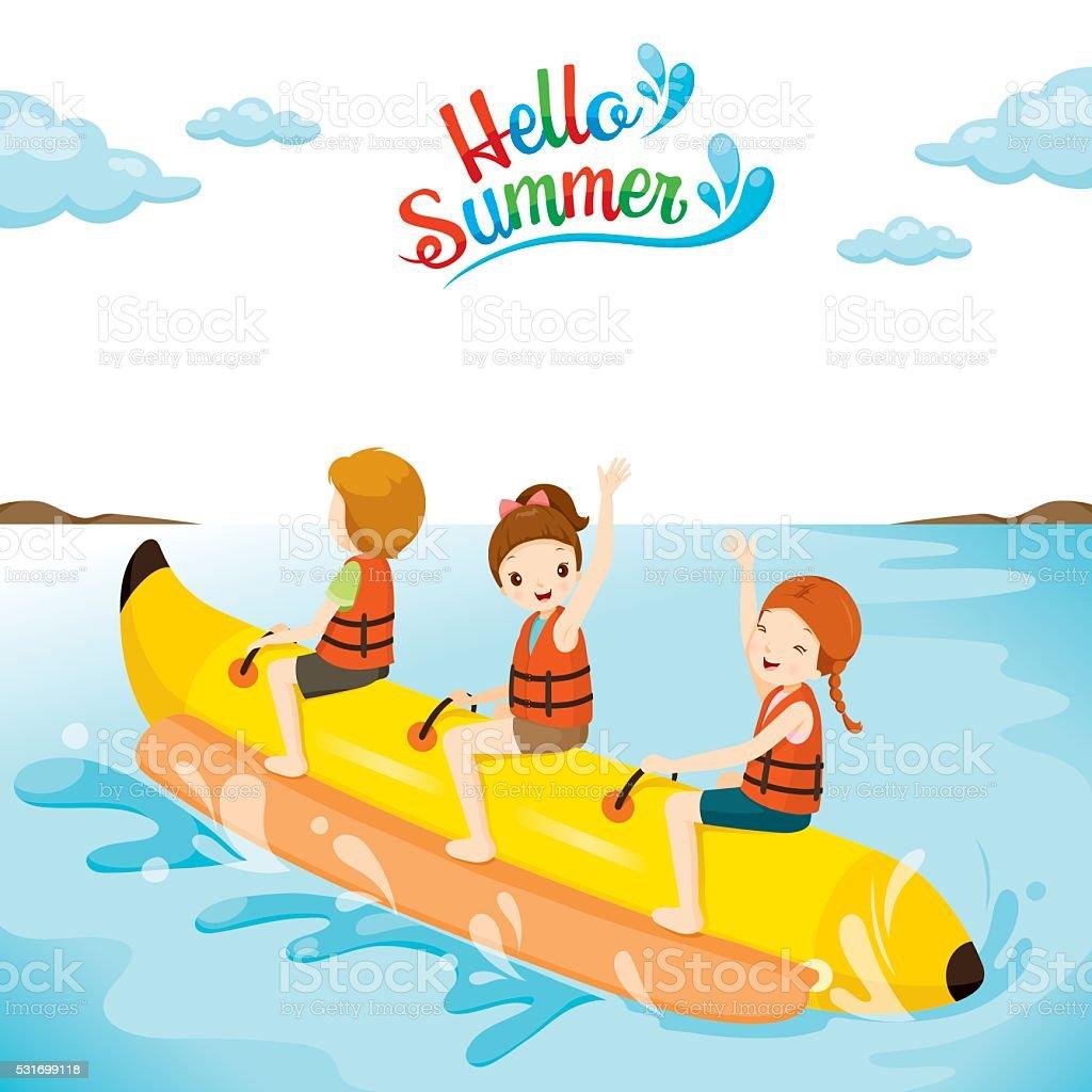 Children Having Fun On Banana Boat vector art illustration