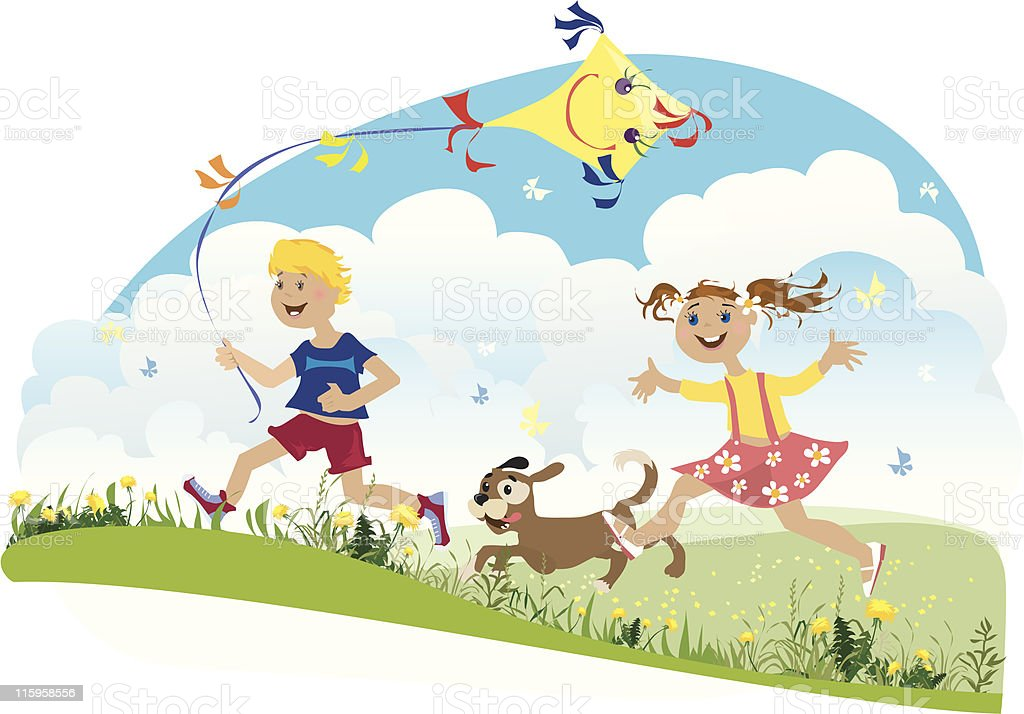 Children having fun vector art illustration