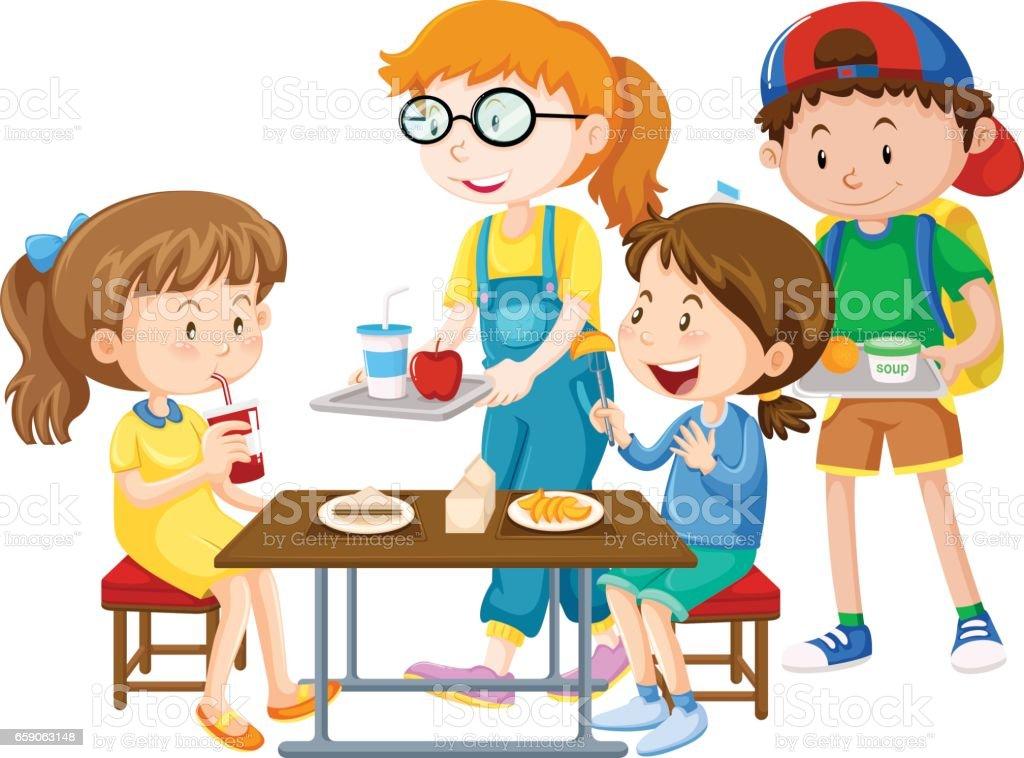 Children having meal at table vector art illustration