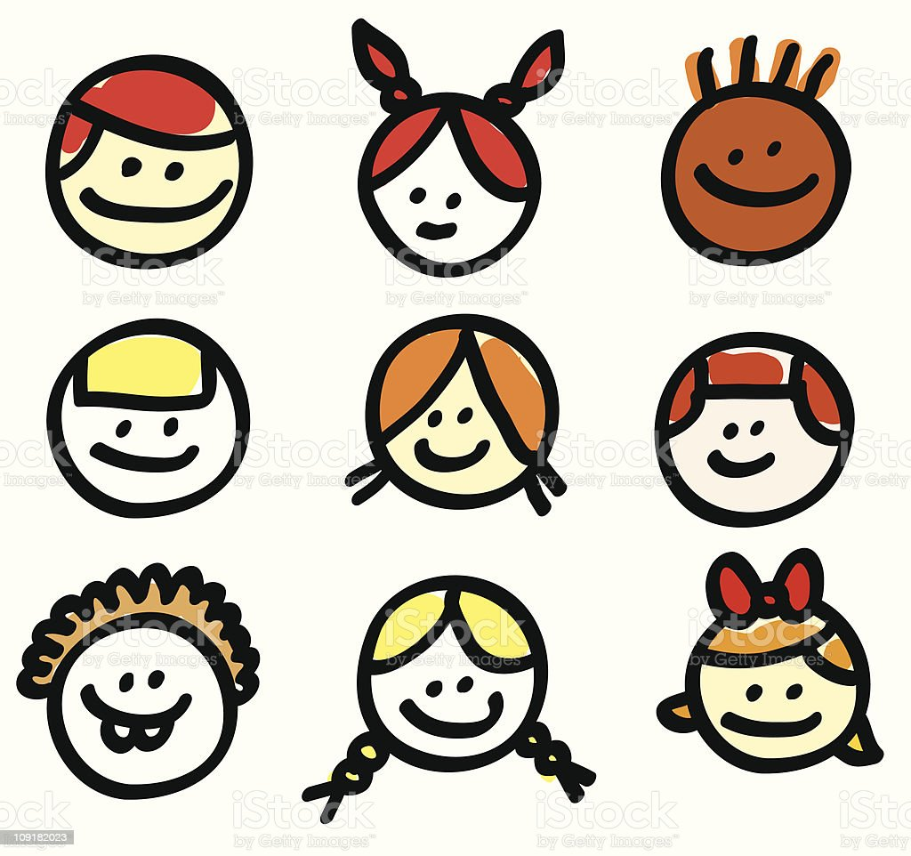 Children head cartoons royalty-free stock vector art