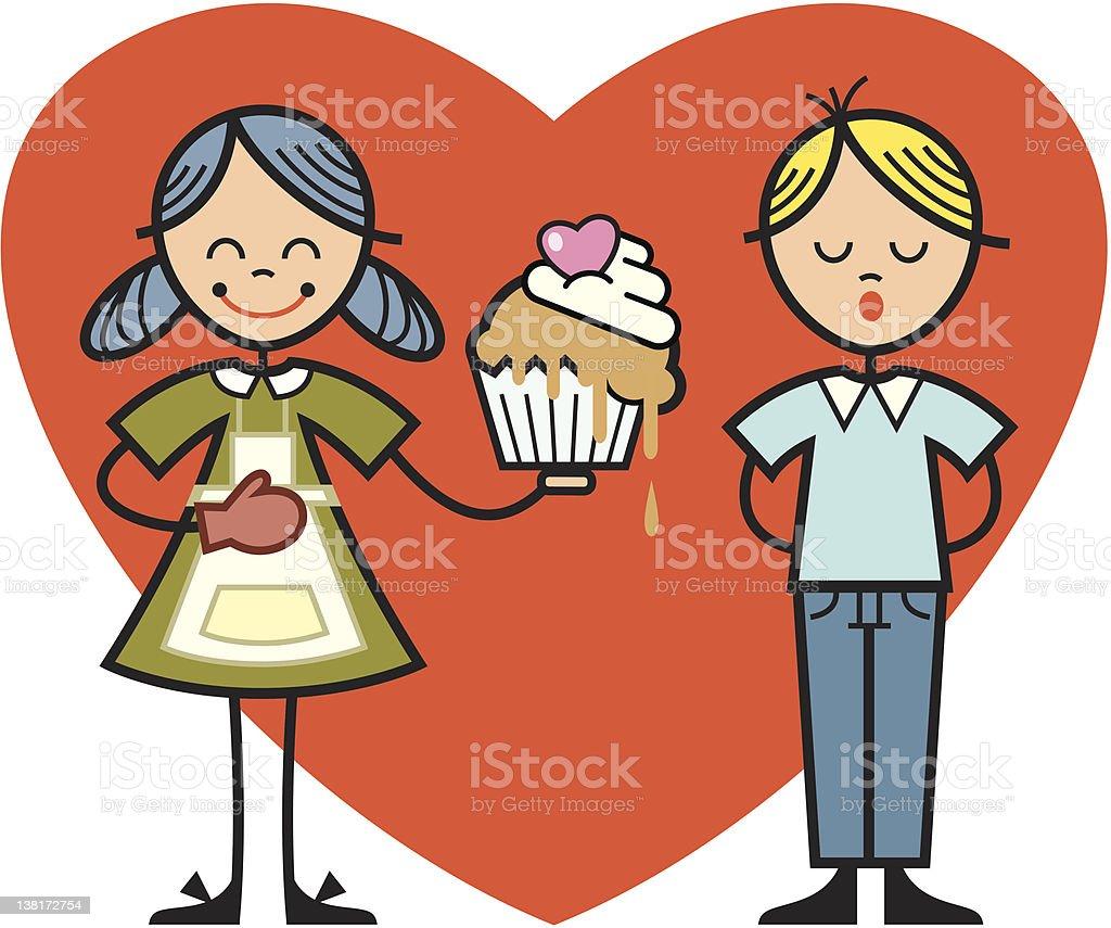 children heart and cake vector art illustration