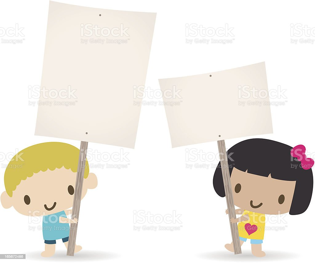 Children holding a blank sign for your message(Boy and Girl) royalty-free stock vector art