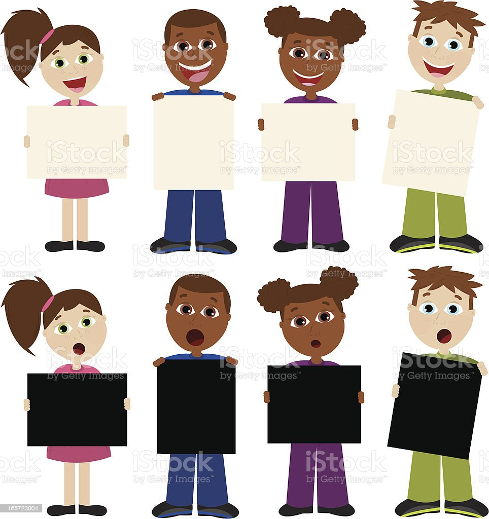 Children Holding Blank Signs for Your Text! royalty-free stock vector art