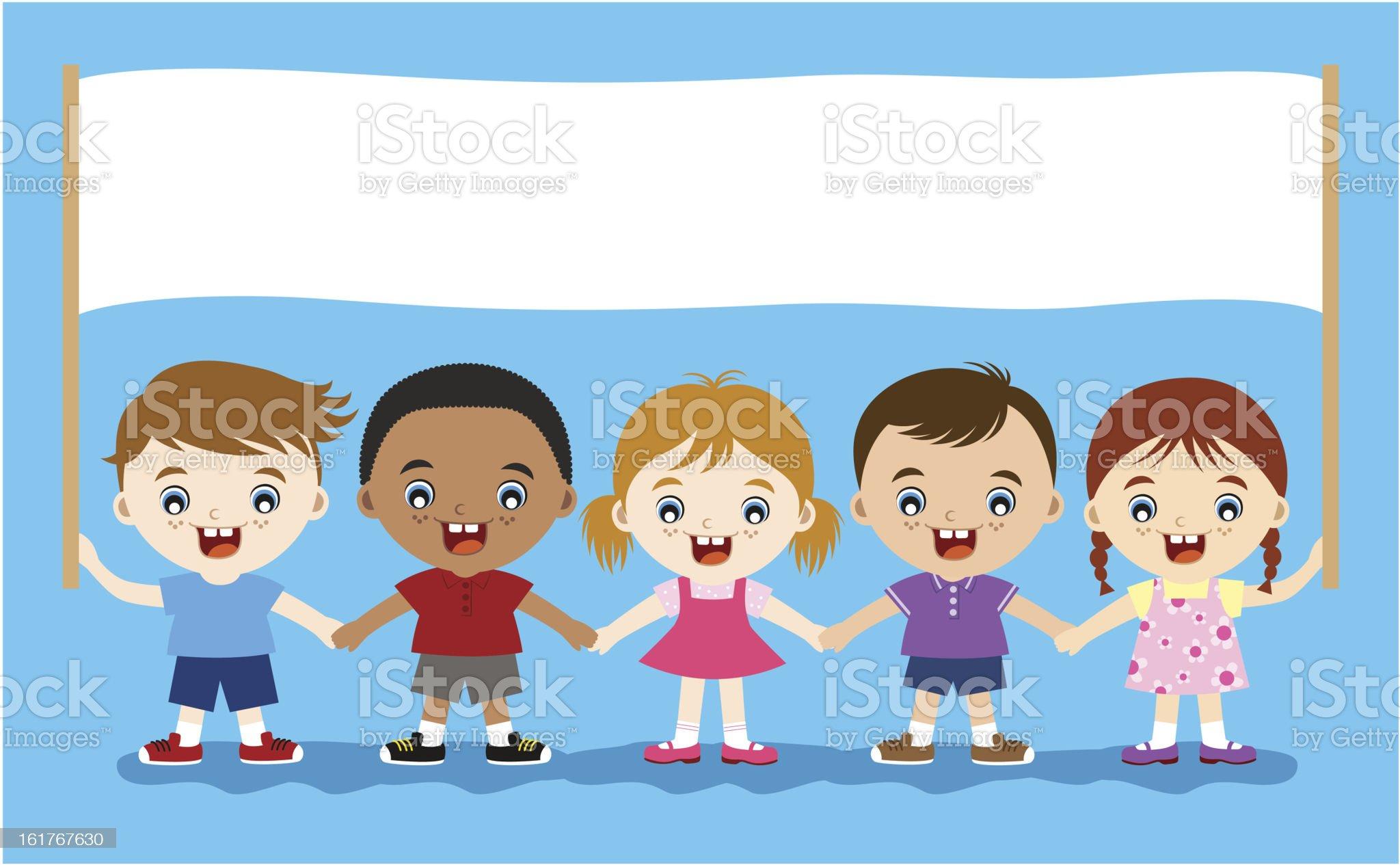 children holding empty banner royalty-free stock vector art