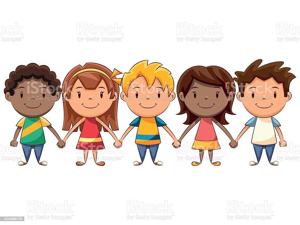 Children holding hands vector art illustration