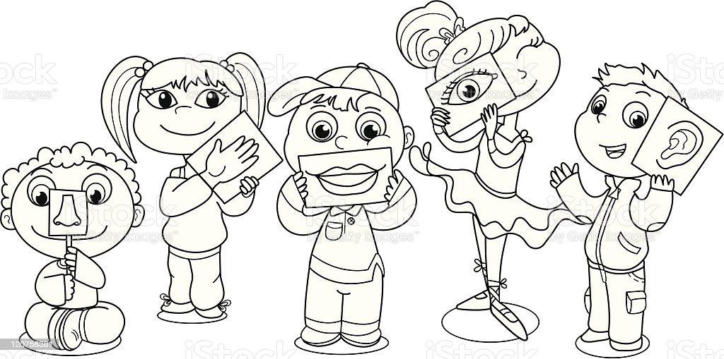 children illustrating five senses royalty free stock vector art