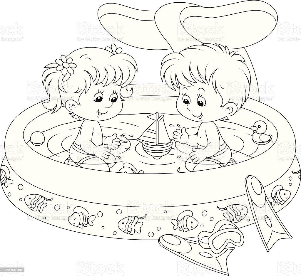 Children in a kids pool vector art illustration