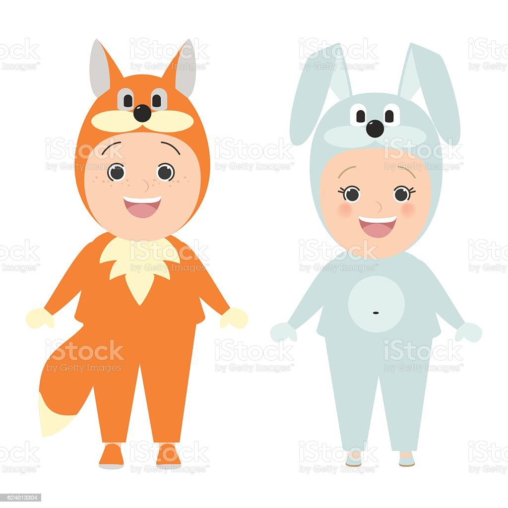 Children in carnival costumes of animals. Fox boy, girl bunny vector art illustration