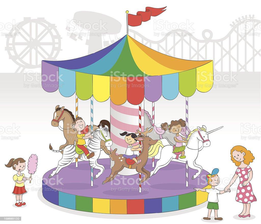 Children in Carousel royalty-free stock vector art