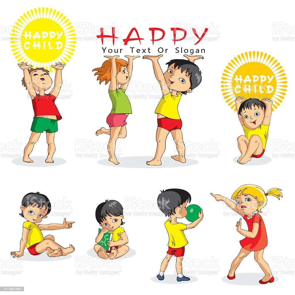 Children In Cartoon Style. vector art illustration