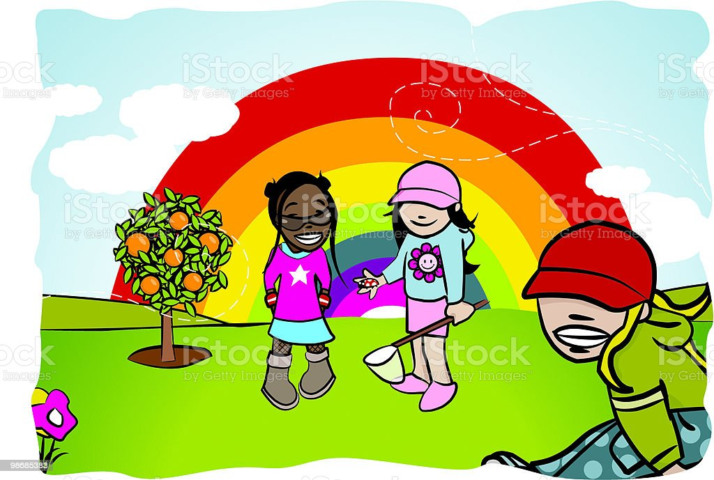 children in garden with rainbow & sky royalty-free stock vector art