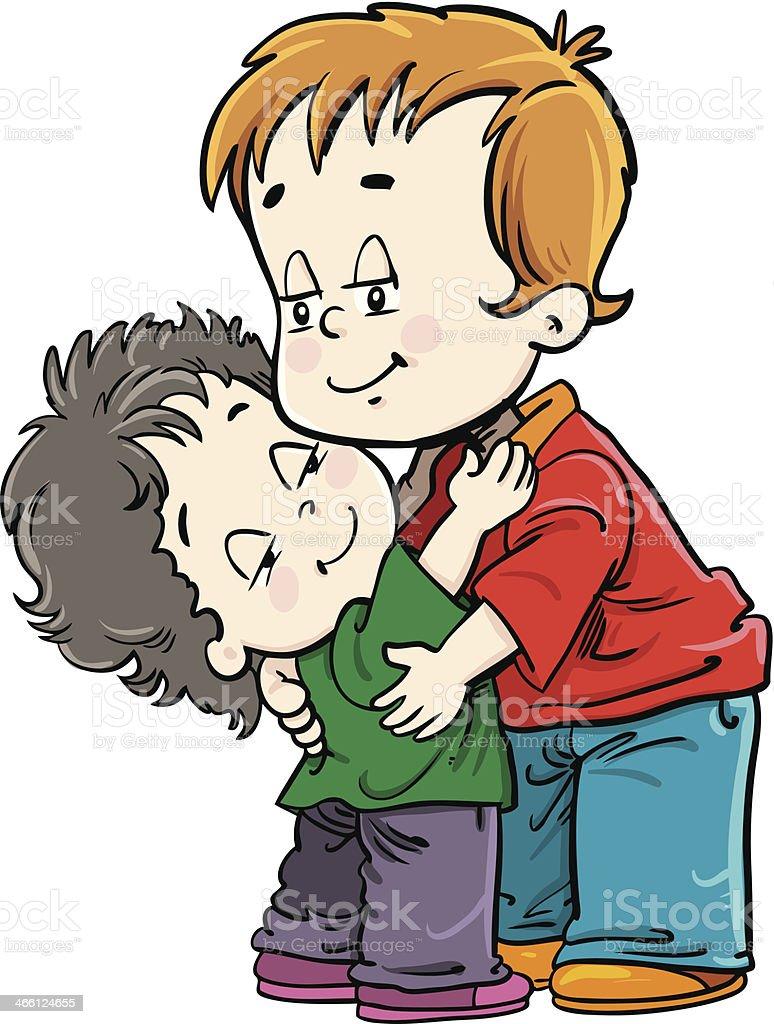Children in hug royalty-free stock vector art
