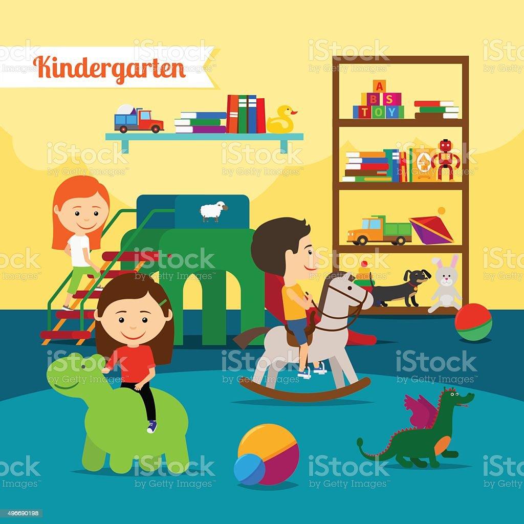Children in Kindergarten vector art illustration