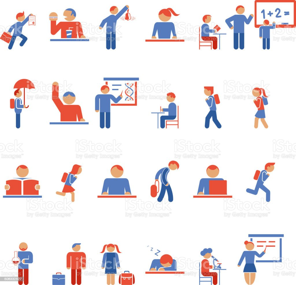 Children in school flat icons vector art illustration