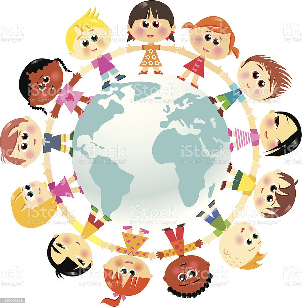 Children in unity around the world royalty-free stock vector art