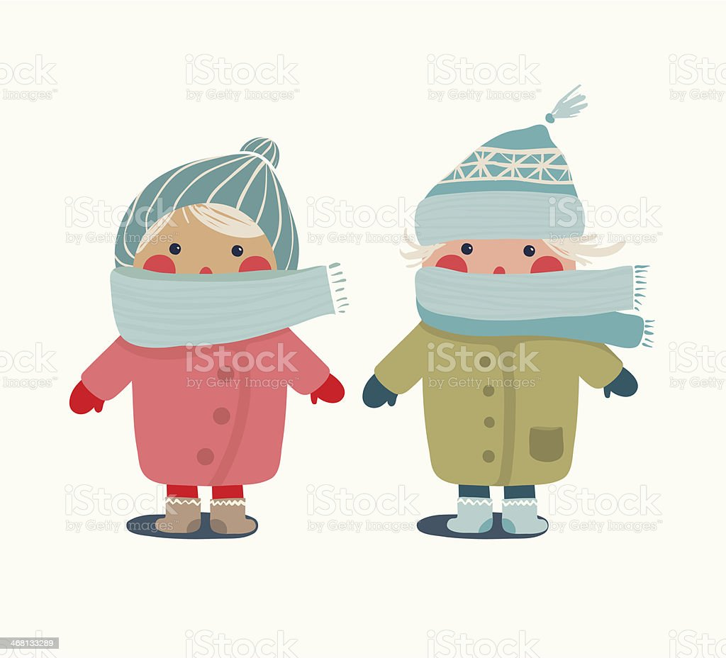 Children in Winter Cloth vector art illustration