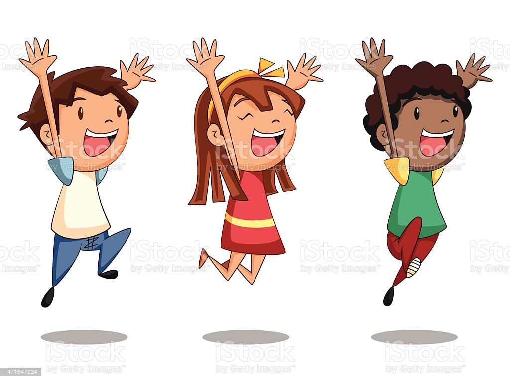 Children jumping vector art illustration