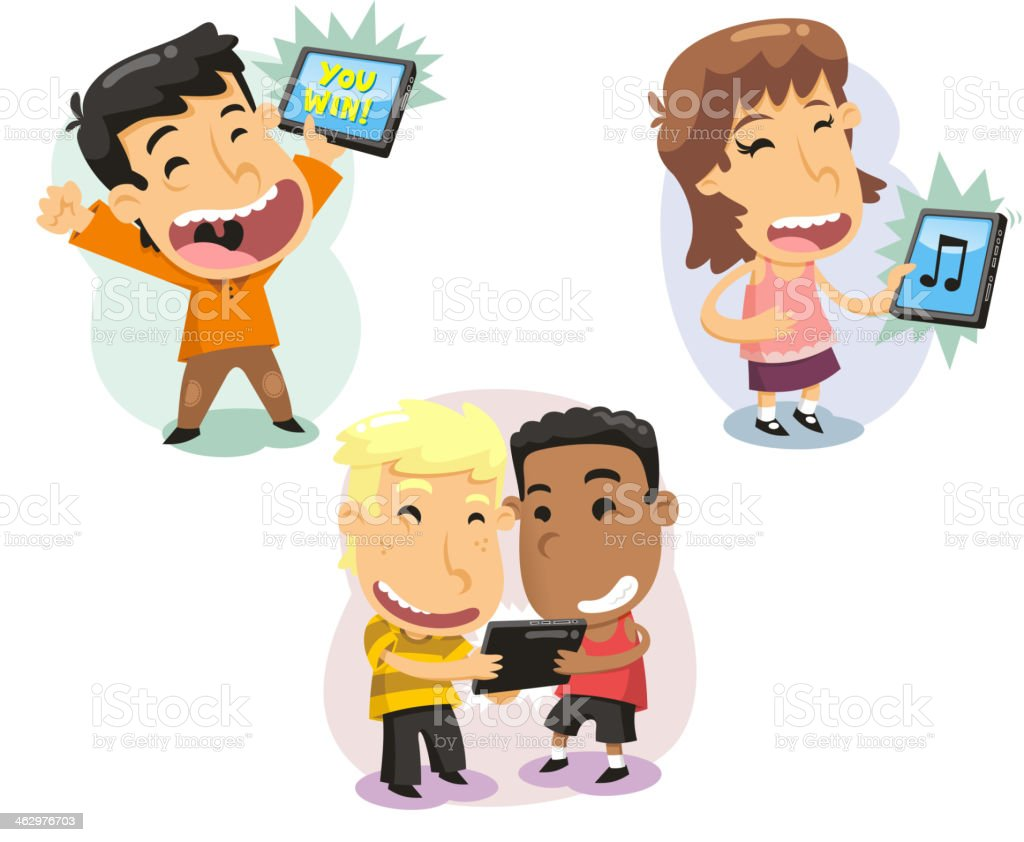 Children Kids playing with computer tablets Technology vector art illustration