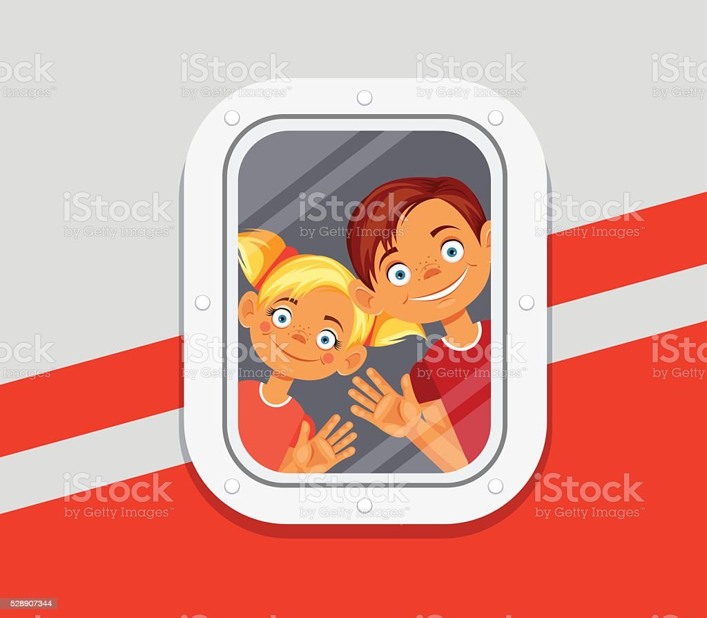 Children looking from window of plane vector art illustration