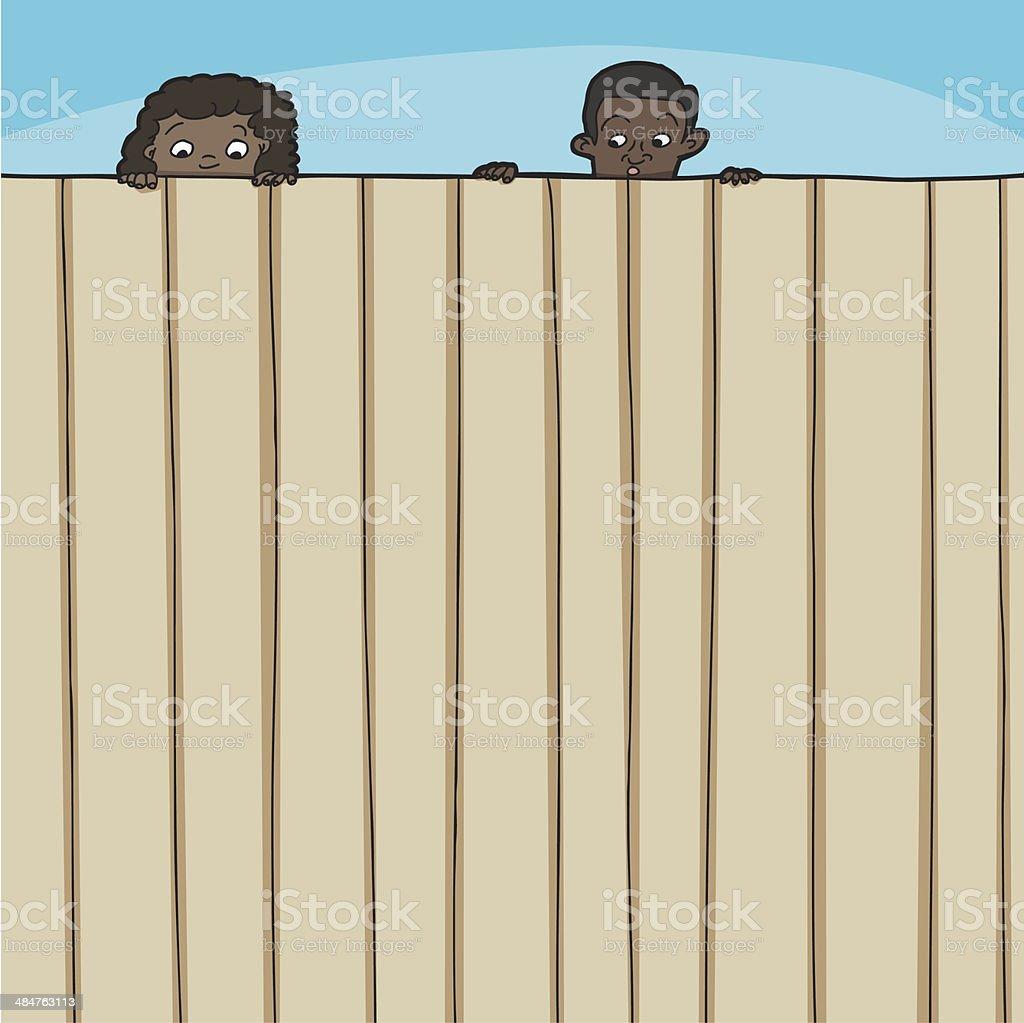 Children Looking Over Fence vector art illustration