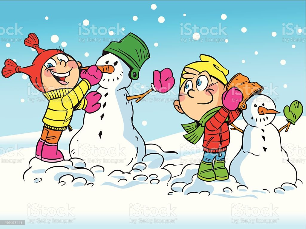 children make snowmen royalty-free stock vector art