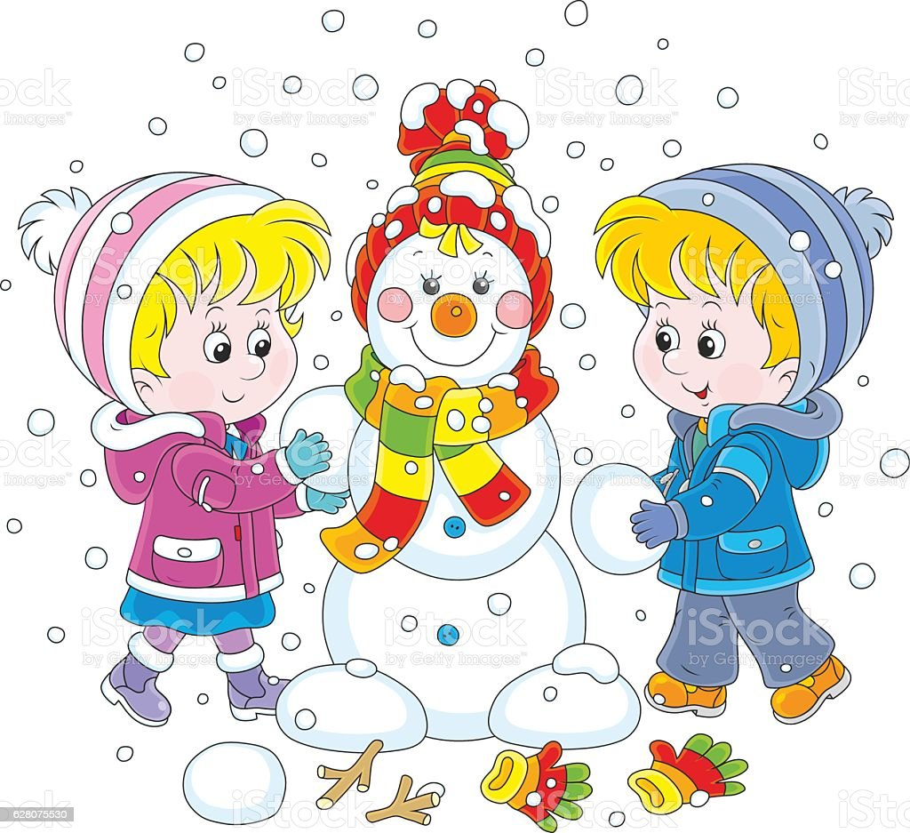 Children making a Christmas snowman vector art illustration