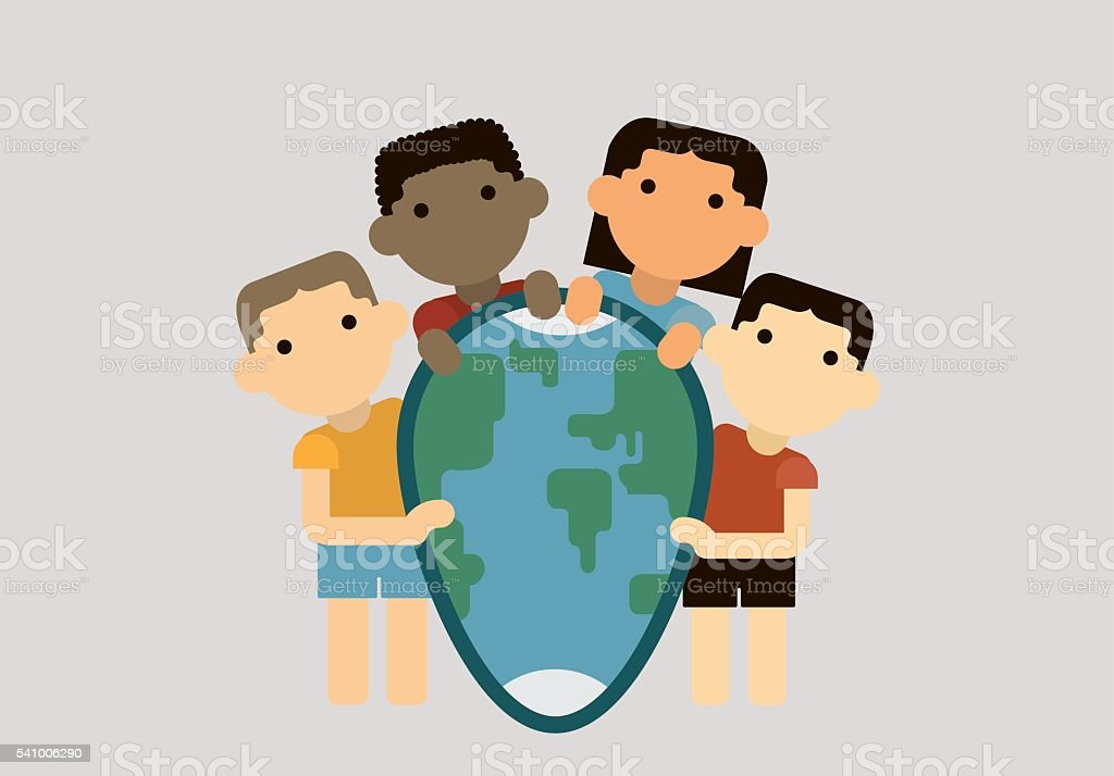 Children of different nations cling to the planet earth in royalty-free stock vector art