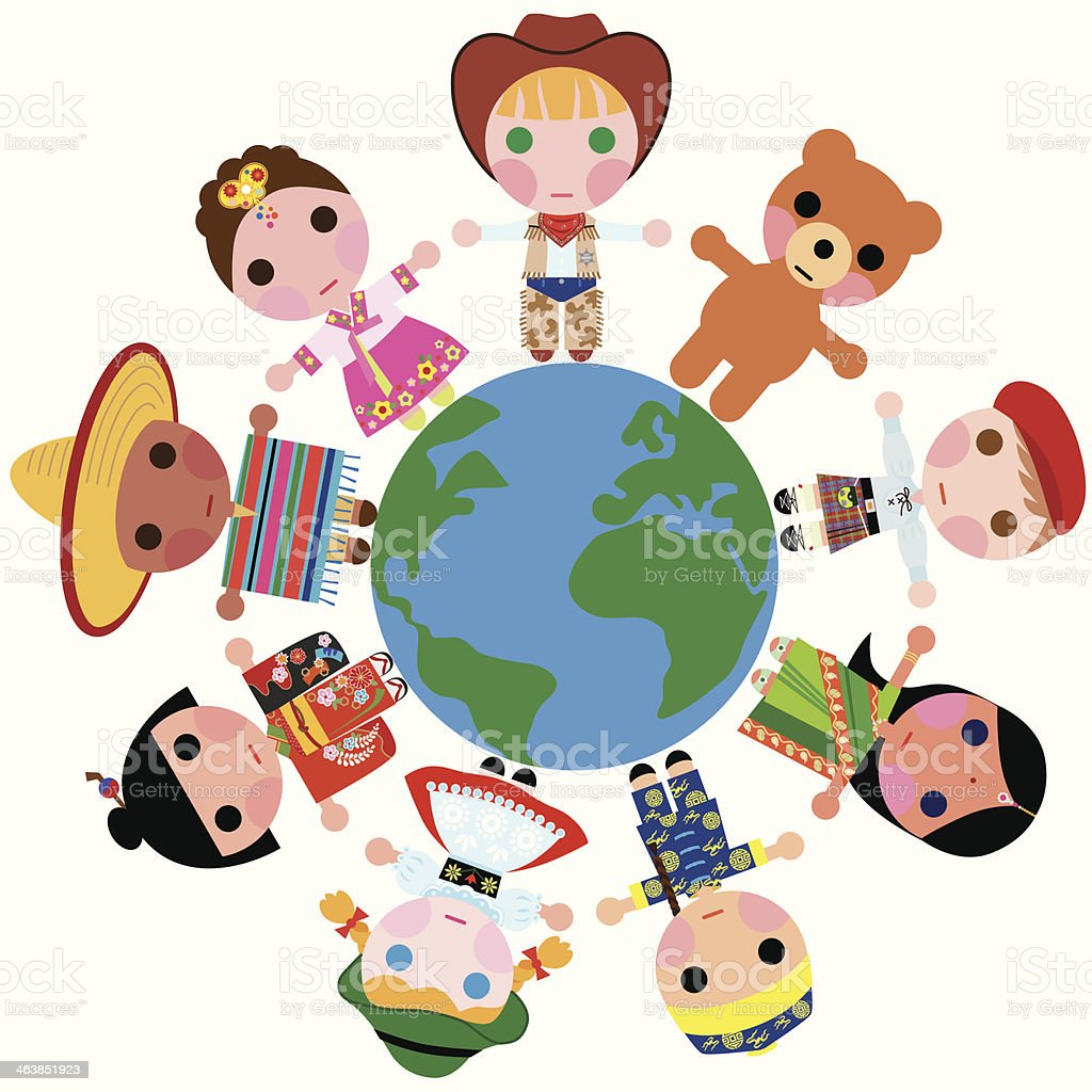 Children of the world on a Globe royalty-free stock vector art