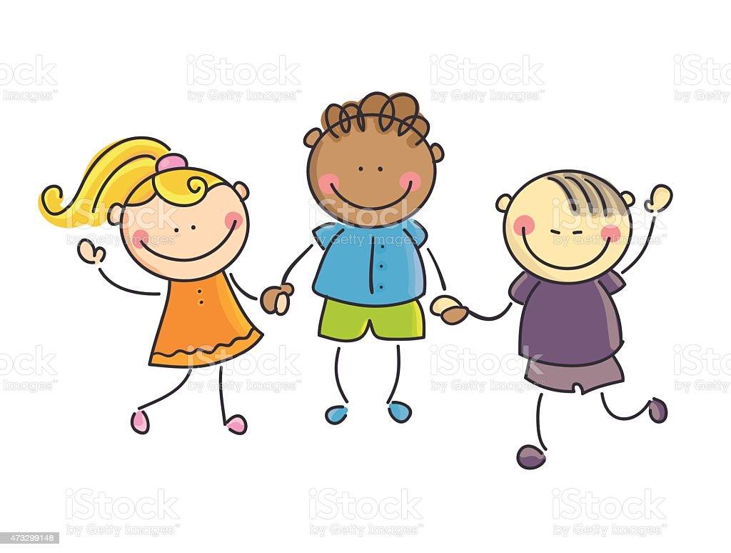 Children of the world vector art illustration