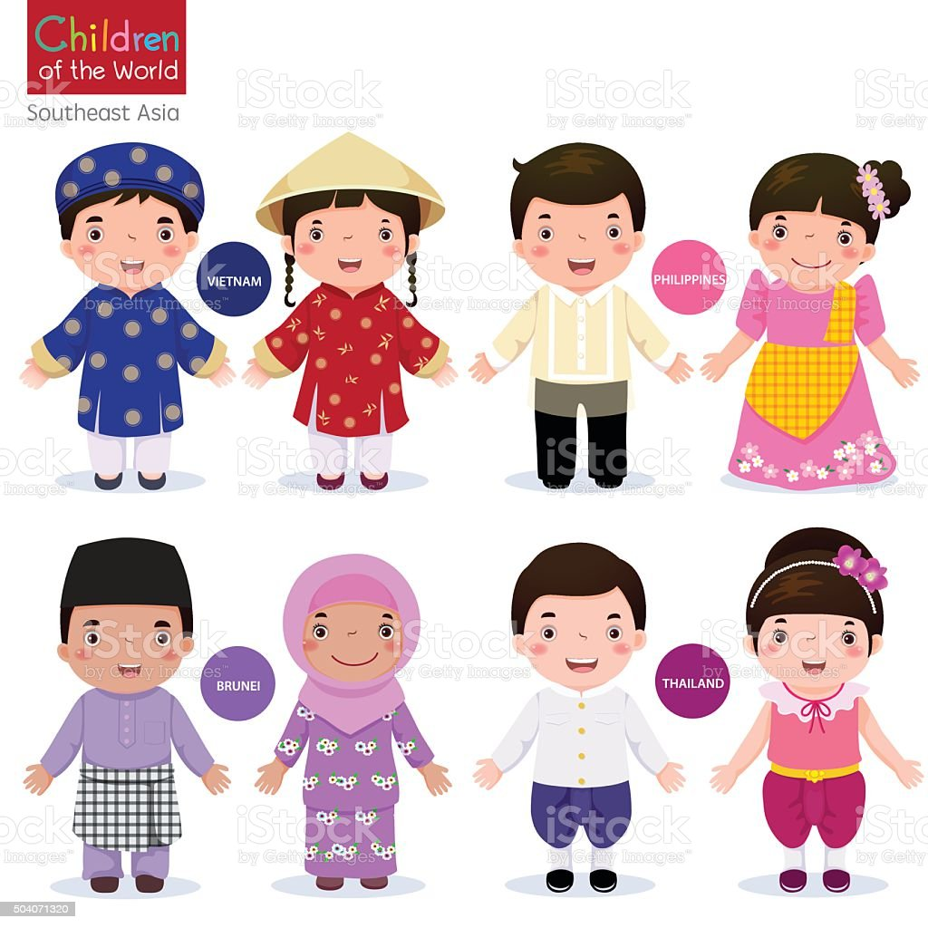 Children of the world;  Vietnam, Philippines, Brunei, and Thailand vector art illustration