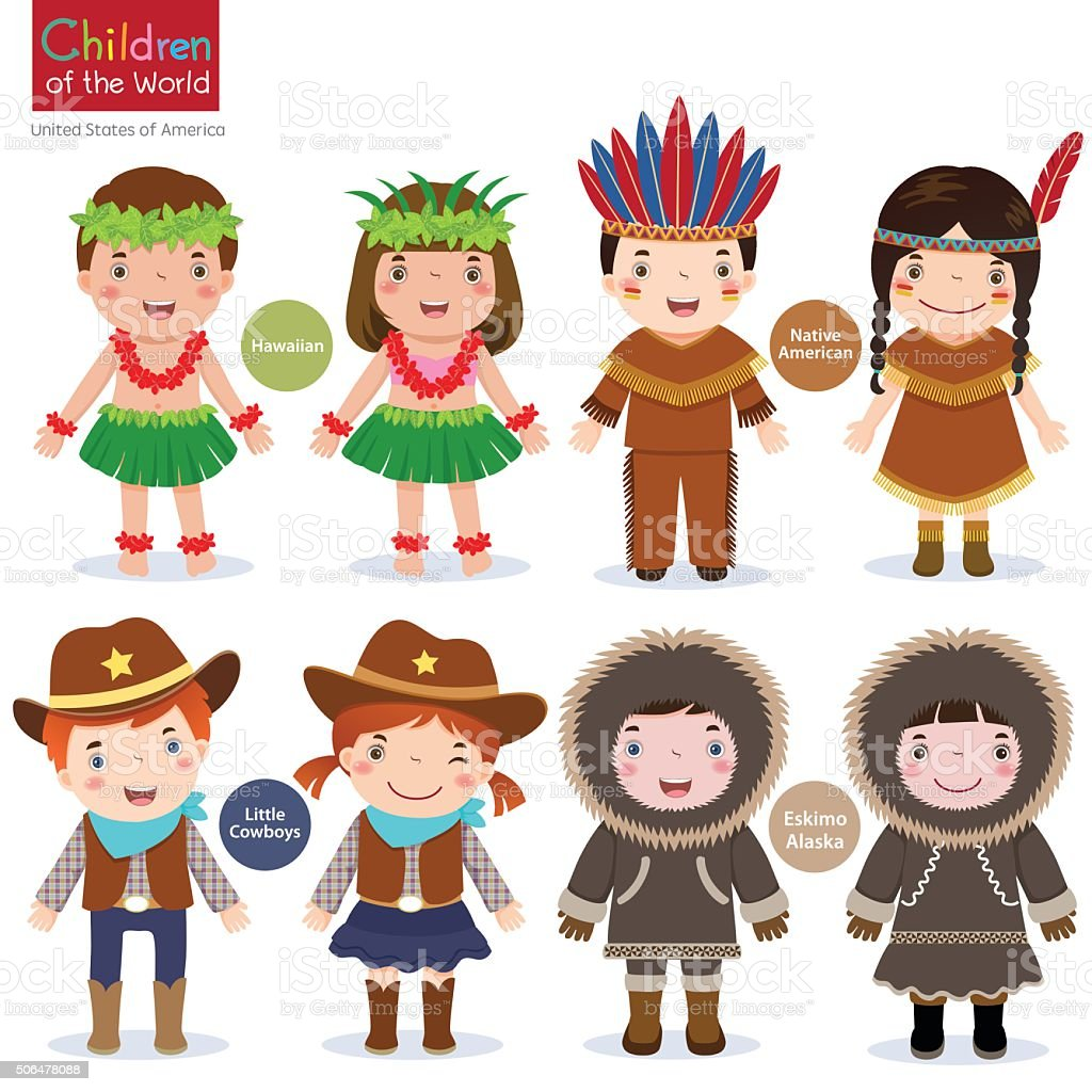 Children of the world-USA-Hawaiian-Native American-Cowboys-Eskimo vector art illustration