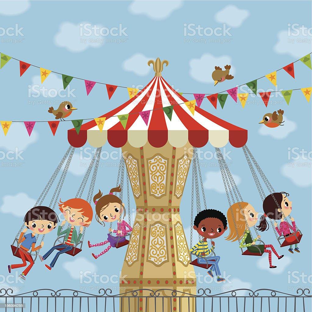 Children on a Carousel. vector art illustration