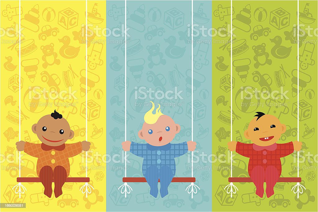 Children on a toy background royalty-free stock vector art