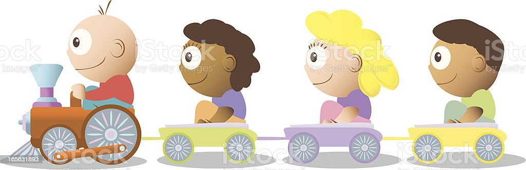 Children on a Toy Train vector art illustration
