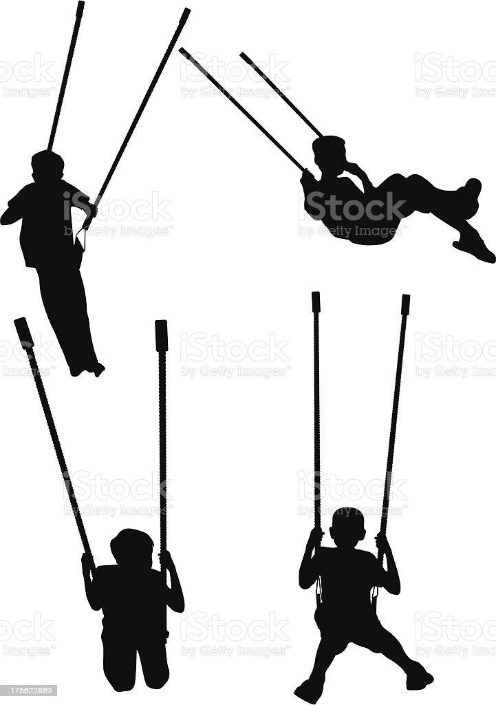 Children on Swings vector art illustration