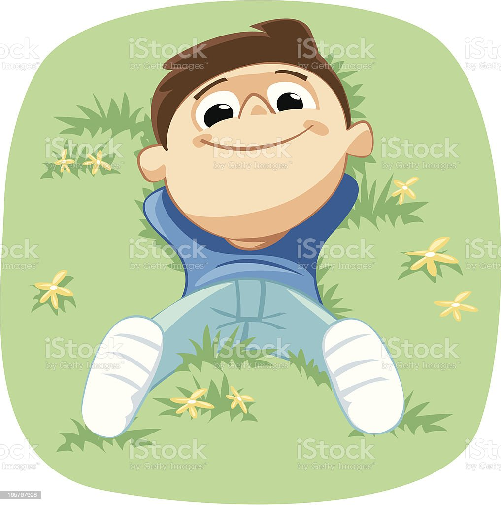 Children on the grass royalty-free stock vector art