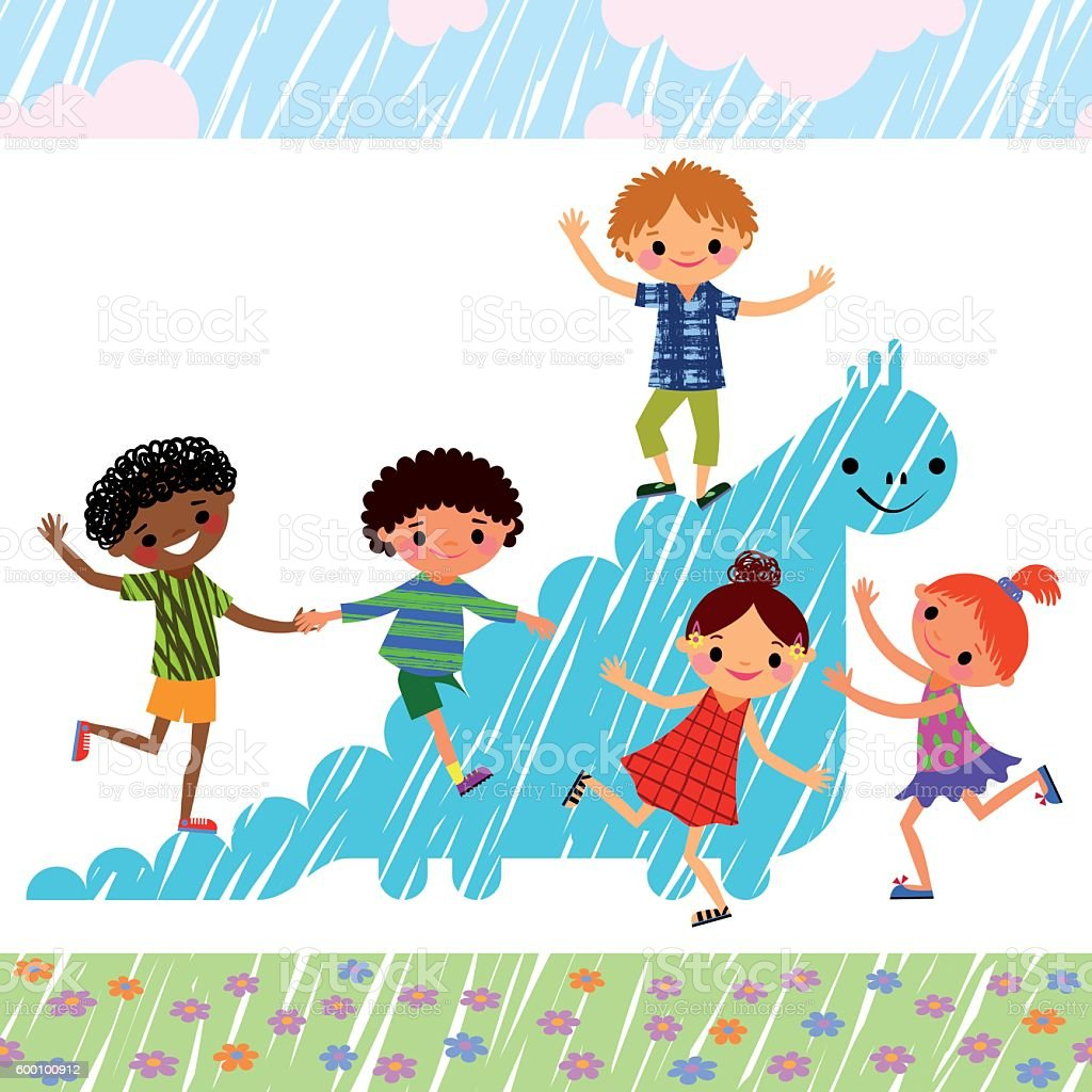 Children on the playground. vector art illustration