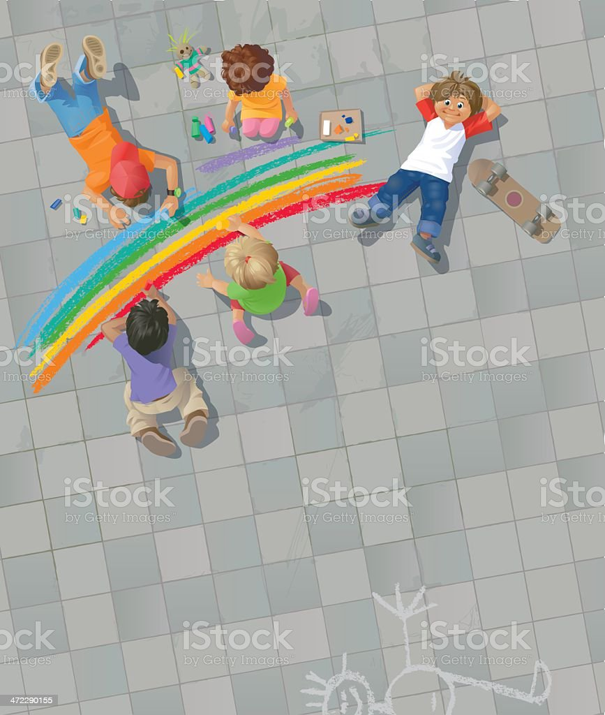 Children Painting Rainbow on the Street vector art illustration