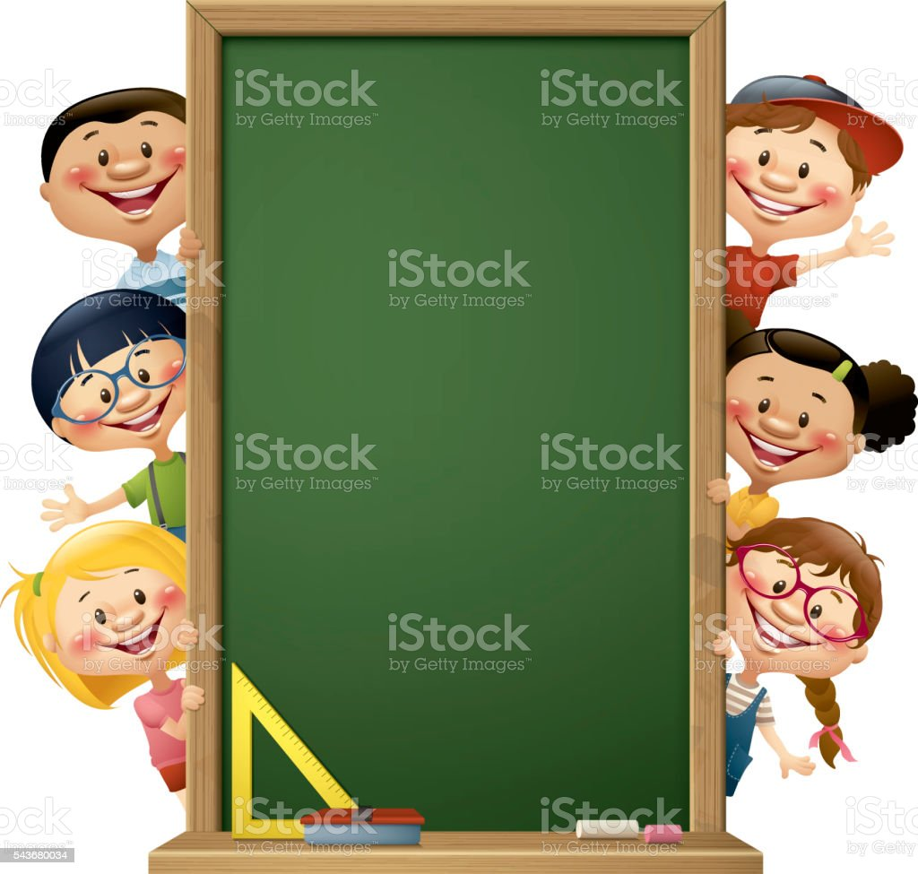 children peeking behind blackboard vector art illustration