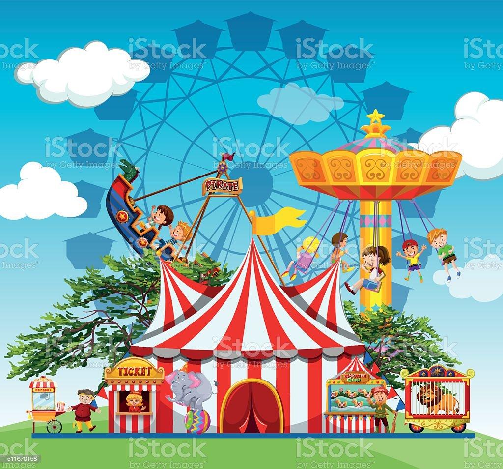 Children people  amusement park vector art illustration