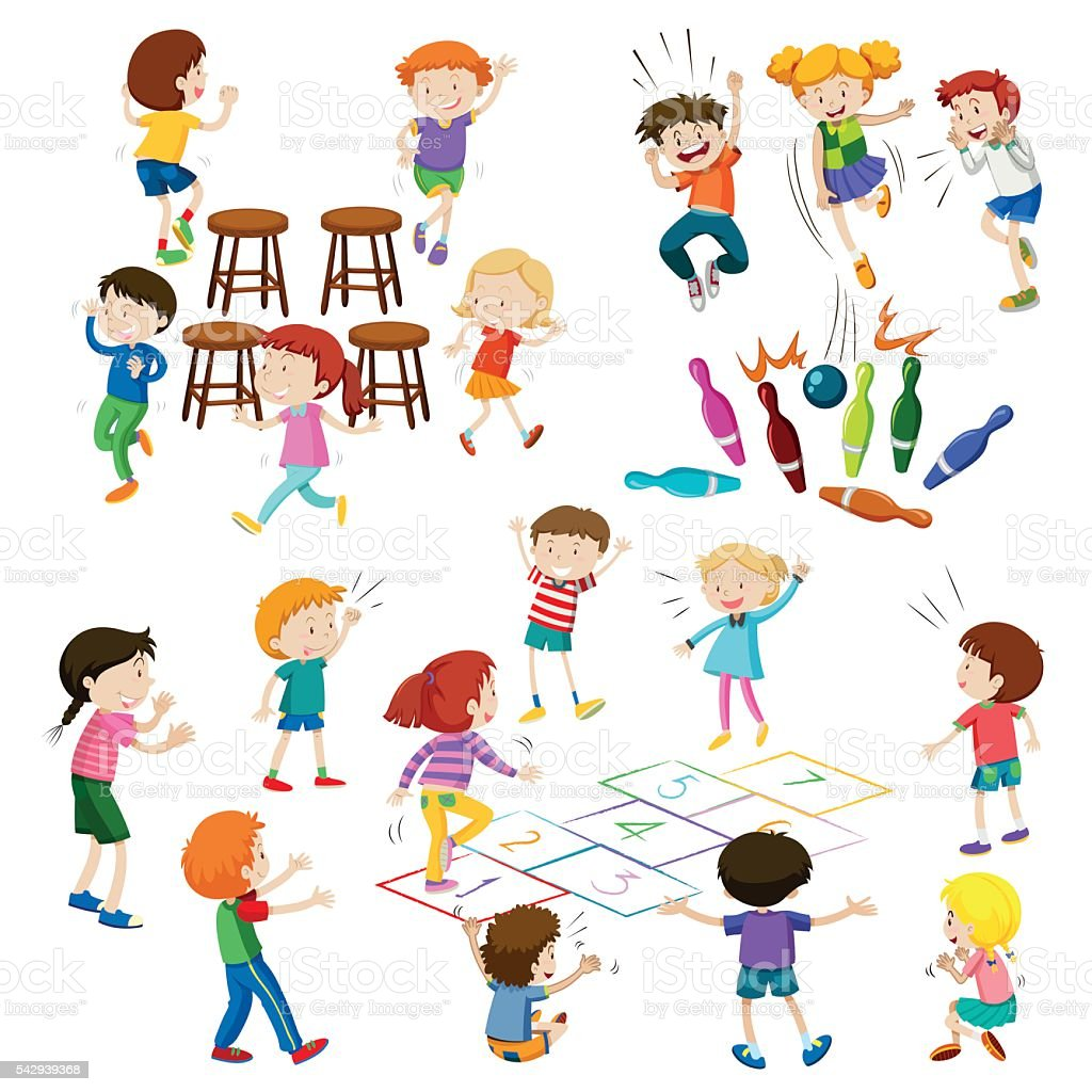 Children play different kind of games vector art illustration