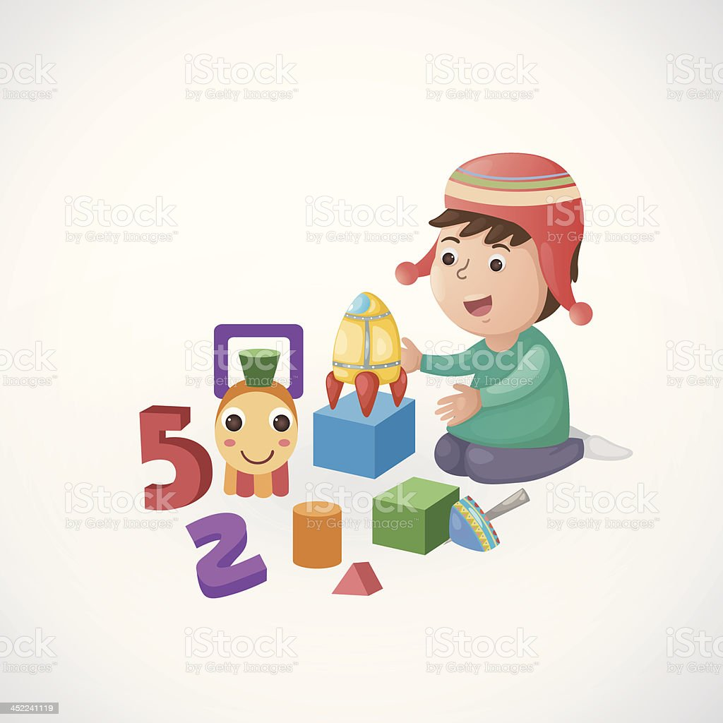 children play with toy royalty-free stock vector art