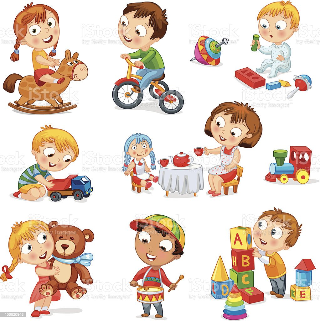 Children play with toys vector art illustration