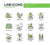 Children playground line design icons set
