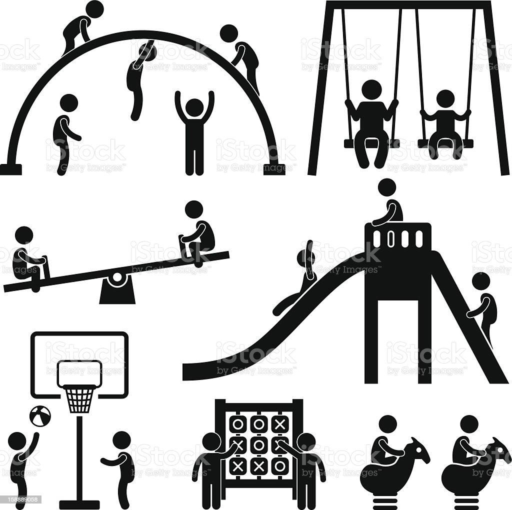 Children Playground Outdoor Park Pictogram vector art illustration