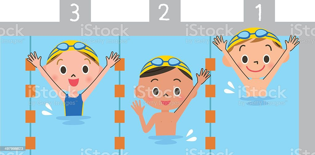 Children playing a pool vector art illustration