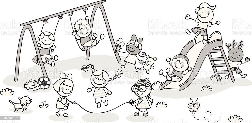 children playing at park vector art illustration